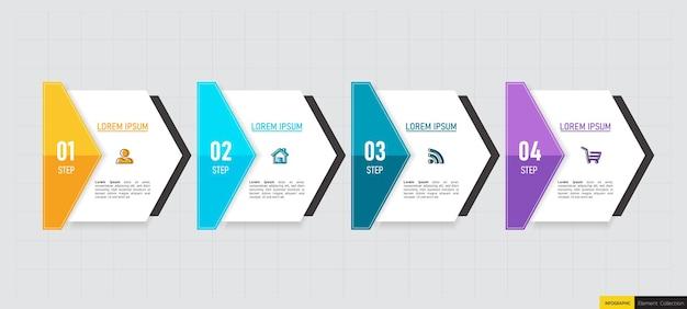 Modello di infografica in quattro passaggi Vettore Premium