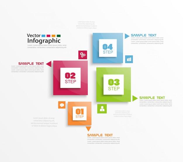 Infografica a quattro passaggi con quadrati colorati