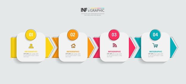 Modello di infografica timeline a quattro passaggi Vettore Premium