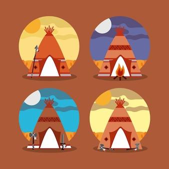 Quattro teepee casa nativi americani con la differenza di paesaggio