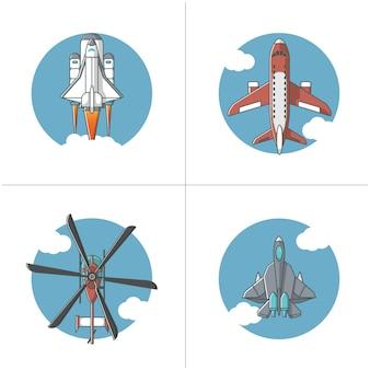 Quattro tipi di illustrazione del trasporto aereo