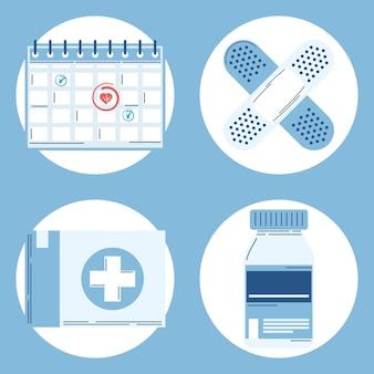 Quattro icone set piatto vaccino