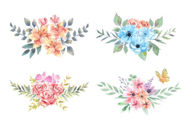 Quattro mazzi di gigli, anemoni, rose e zinnia dell'acquerello con la farfalla arancio sistemano isolati