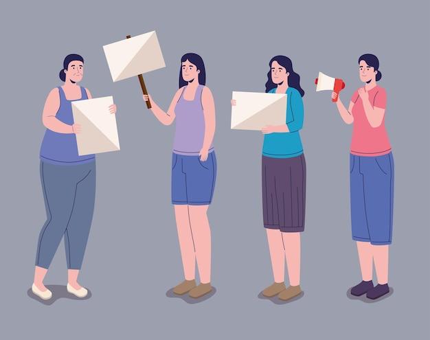Quattro donne che protestano
