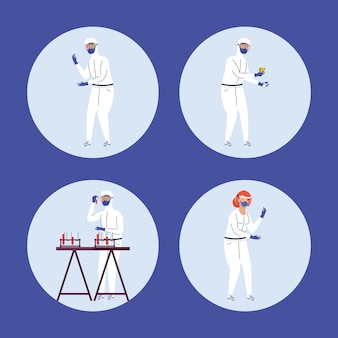 Quattro lavoratori personaggi del test covid