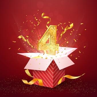 Numero di quattro anni anniversario e confezione regalo aperta con elemento di design isolato coriandoli esplosioni