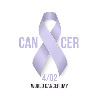 Quarto febbraio giornata mondiale contro il cancro. nastro