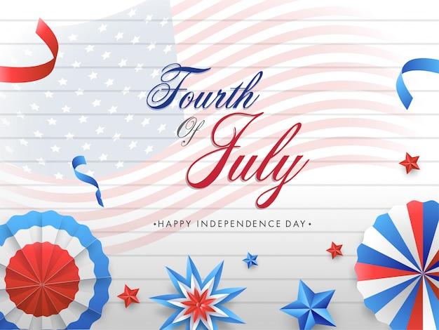 Carattere di quarto di luglio con distintivo di taglio di carta tricolore nazionale, stelle e nastri decorati su bandiera ondulata americana e sfondo motivo a strisce orizzontali.