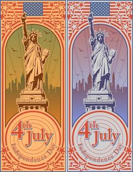 Quarto di luglio giorno dell'indipendenza degli stati uniti, statua della libertà, festività, illustrazione