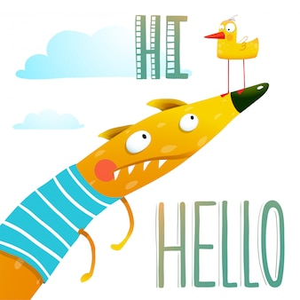 Carattere animale volpe con cartone animato amici anatra saluto ciao carta ciao
