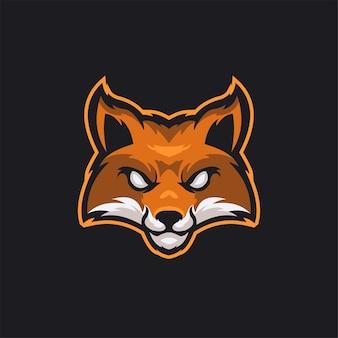Illustrazione del modello del logo del fumetto della testa di animale della volpe esport logo gaming premium vector