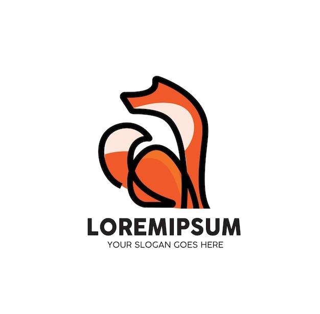 Volpe animale monoline line art logo