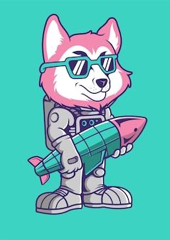 Illustrazione disegnata a mano di fox astronaut