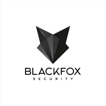 Disegno del logo di sicurezza della volpe nera della volpe