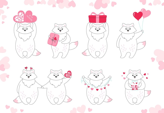 Insieme del fumetto di volpe. carattere animale divertente doodle disegnato a mano con cuori, palloncino, regalo e pacco