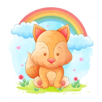 Cartone animato volpe con sfondi acquerello, arcobaleno e fiori