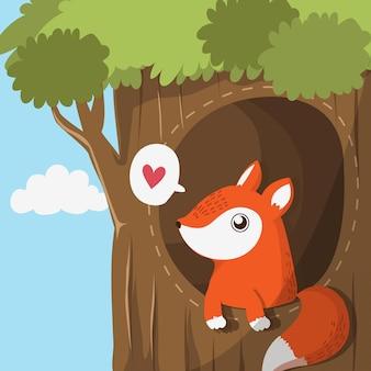 Fox nell'albero della caverna.