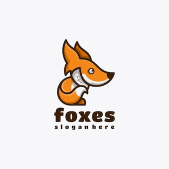 Illustrazione vettoriale di design del logo della mascotte del personaggio della volpe