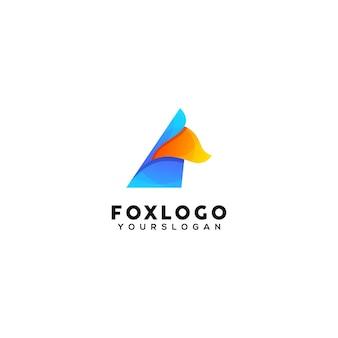 Modello di progettazione logo colorato volpe