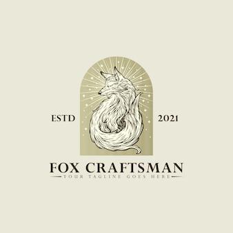 Disegno del modello dell'illustrazione di vettore del disegno della mano del logo dell'artigiano della volpe su fondo bianco