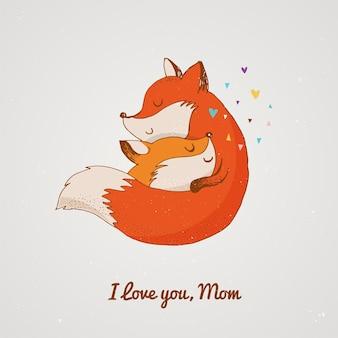 Volpe, carina, adorabile. carta di giorno di madri
