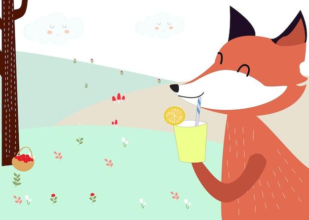 Fox che beve nella foresta dell'estate