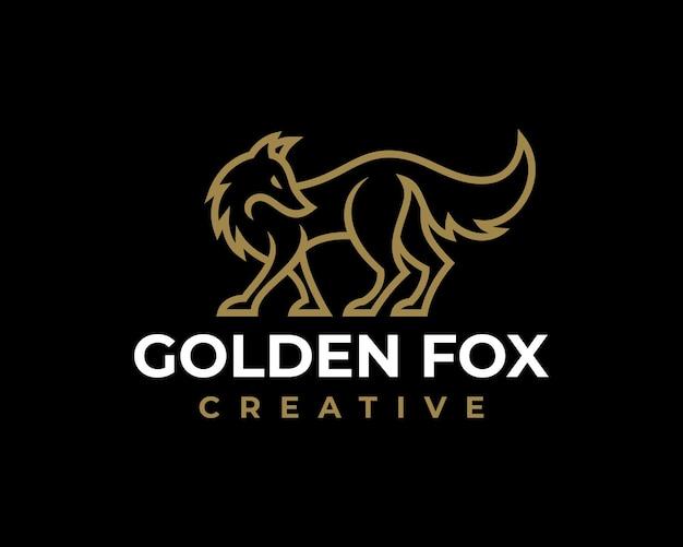 Modello di logo creativo di lusso elegante fox