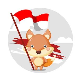 Logo del personaggio della mascotte della bandiera della volpe indonesiana