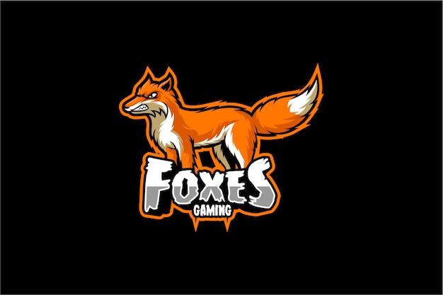 Logo di gioco fox Vettore Premium