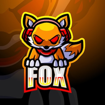 Illustrazione di esport della mascotte di gioco di fox