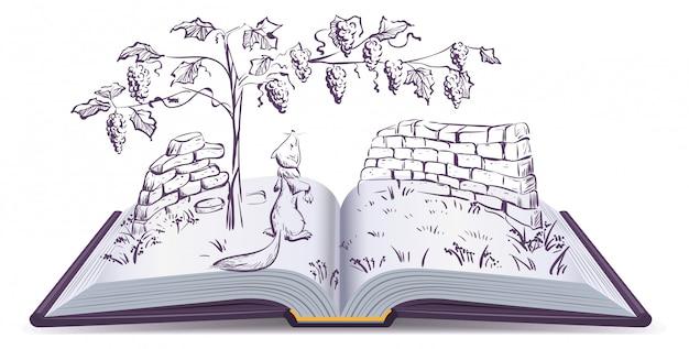 Volpe e uva. illustrazione della favola del libro aperto