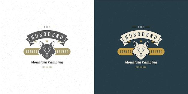 Siluetta dell'illustrazione dell'emblema del logo della testa di volpe per camicia o timbro di stampa