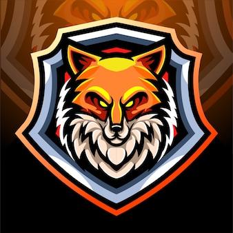 Mascotte della testa di volpe. design del logo esport
