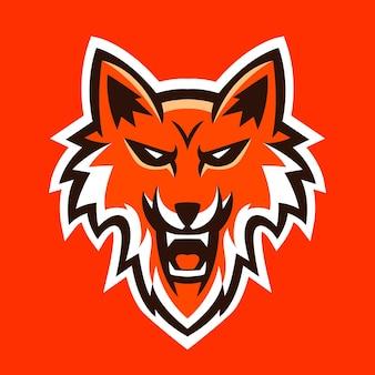 Illustrazione vettoriale di sport del logo della mascotte della testa di volpe