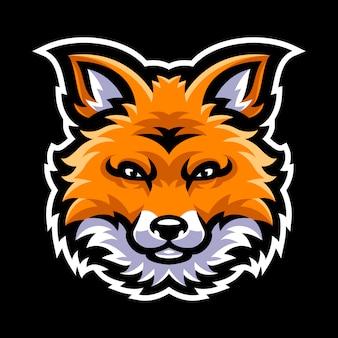 Modello di logo mascotte testa di volpe