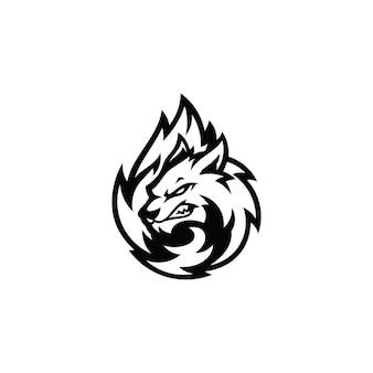 Fox head tail fur illustrazione logo simbolo in colore nero