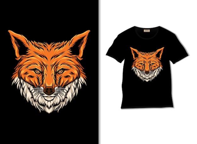Testa di volpe con illustrazione del design della maglietta