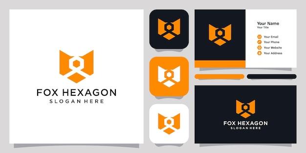 Fox hexagon logo icona simbolo modello logo e biglietto da visita