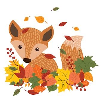 La volpe è seduta tra le foglie cadute. una volpe del fumetto in foglie di autunno.