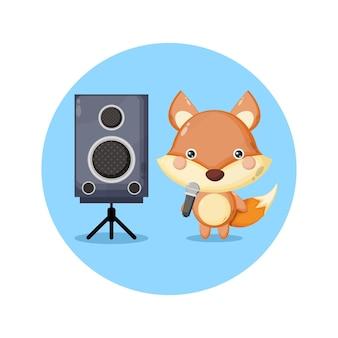 Volpe karaoke simpatico personaggio mascotte