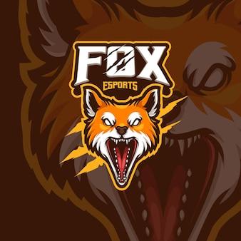 Disegno del logo del gioco di esport della mascotte della volpe