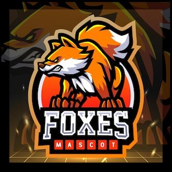 Design del logo esport della mascotte della volpe