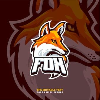 Modello di logo della mascotte di fox