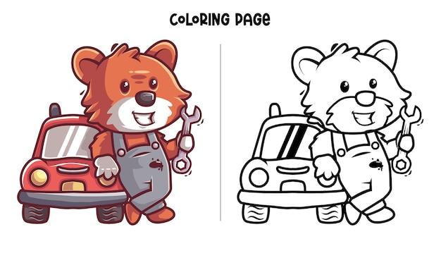Fox il meccanico. pagina da colorare stampabile e libro da colorare