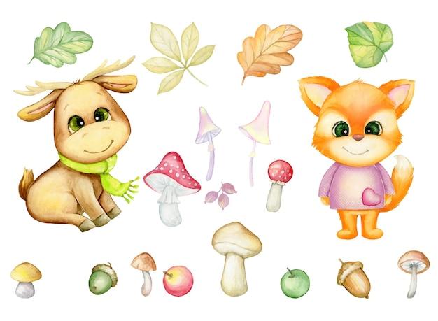 Volpe, alci, foglie autunnali, funghi, bacche. insieme dell'acquerello di piante e animali della foresta, in stile cartone animato, su uno sfondo isolato.