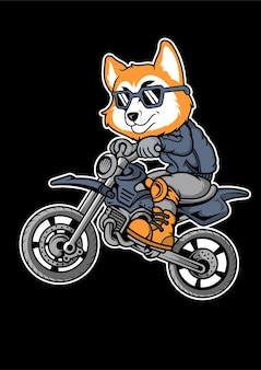 Illustrazione disegnata a mano di fox motocrosser