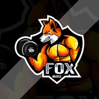 Modello di progettazione esport logo mascotte muscolare volpe