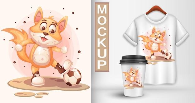 La volpe gioca a calcio. illustrazione del fumetto.