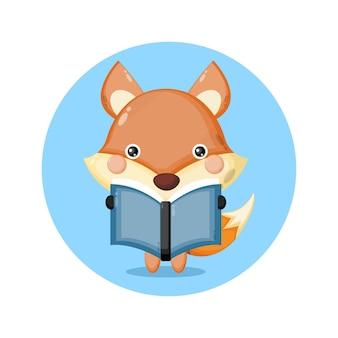 Volpe che legge un libro simpatico personaggio logo