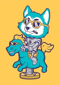 Illustrazione disegnata a mano di fox riding horse